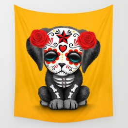Cute Red Day of the Dead Puppy Dog Wall Tapestry