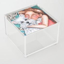 Sweet Coconut Original Art Schnauzer and girl Portrait Acrylic Box
