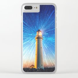 lighthouse lights and stars Clear iPhone Case