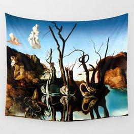 Salvador Dali Swans Reflecting Elephants 1937 Artwork for Wall Art, Prints, Posters, Tshirts, Men, Women, Kids Wall Tapestry