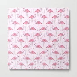 Flamingos - with pink background Metal Print
