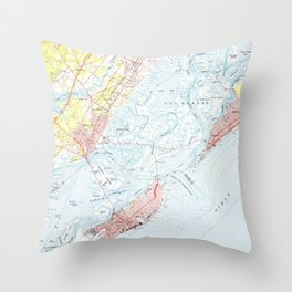 Vintage Map of Ocean City NJ (1952) Throw Pillow