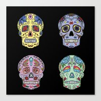 sugar skulls Canvas Prints featuring Sugar Skulls by katherinejago