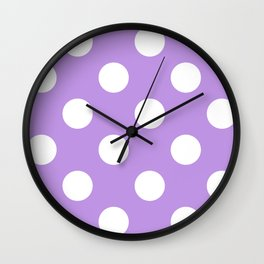 Large Polka Dots - White on Light Violet Wall Clock