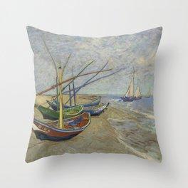"Vincent Van Gogh ""Fishing boats on the Beach at Les Saintes-Maries-de-la-Mer"" Throw Pillow"