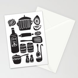 Kitchen Utensils in Black and White Stationery Cards