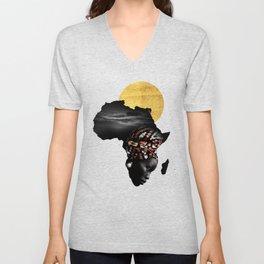 Africa Map Afrocentric Black Woman Portrait Unisex V-Neck