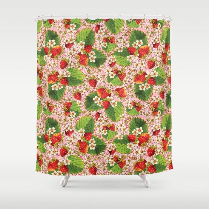 Pink Paisley Strawberries Shower Curtain