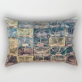 Lobster Traps Kennebunkport Maine Fisherman Dock Wharf New England Atlantic Rectangular Pillow