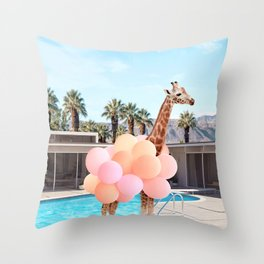 Giraffe Palm Springs Throw Pillow