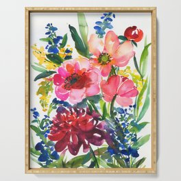my floral garden in watercolor Serving Tray