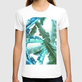tropical banana leaves pattern turquoise T-shirt
