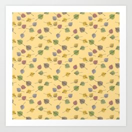 Colorado Aspen Tree Leaves Hand-painted Watercolors in Golden Autumn Shades on Butter Yellow Art Print
