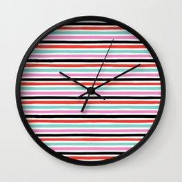 Abstract, Stripes, Red, Pink, Blue, Black, Pop art, Minimal, Pattern, Modern art Wall Clock