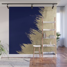 Navy blue abstract faux gold brushstrokes Wall Mural