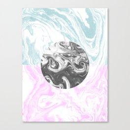Toshi - spilled ink abstract painting watercolor marble painterly boho pantone rosequartz pastel Canvas Print