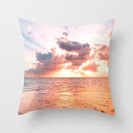 colorful  sunset sky over ocean horizon - Beach landscape Throw Pillow