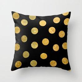NL 8 Gold and Black Polka Dots Throw Pillow