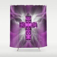 Purple Cross Shower Curtain
