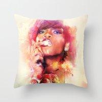 rihanna Throw Pillows featuring Rihanna by turksworks