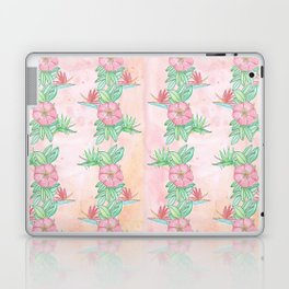 Tropical flowers and leaves watercolor Laptop & iPad Skin