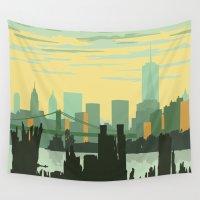 skyline Wall Tapestries featuring NYC Skyline by Studio Tesouro
