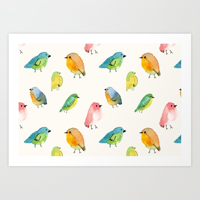 Watercolor Birds Pattern Art Print