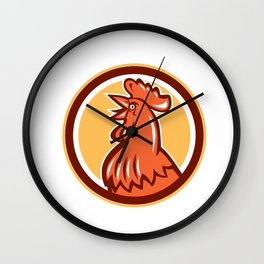 Chicken Rooster Head Crowing Circle Retro Wall Clock
