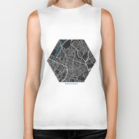 brussels Biker Tanks featuring Brussels city map black colour by MCartography