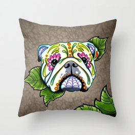 English Bulldog - Day of the Dead Sugar Skull Dog Throw Pillow