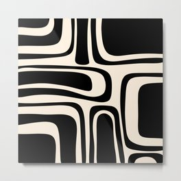 Palm Springs - Midcentury Modern Abstract Pattern in Black and Almond Cream  Metal Print