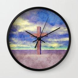 Christian Cross Landscape Wall Clock