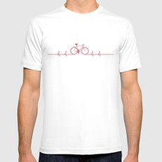 Bike Beat White MEDIUM Mens Fitted Tee