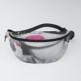 Audrey Hepburn Pink Lips Glitter Picture canvas Fanny Pack