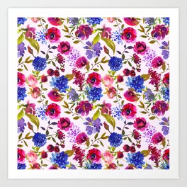 Scattered Bright Pink, Purple and Lavender Floral Arrangement with Feathers on Soft Lilac Art Print