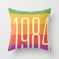 1984 Throw Pillows featuring 1984 (h) by Dan Rubin
