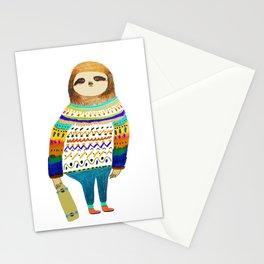 Hipster sloth skateboarder Stationery Cards