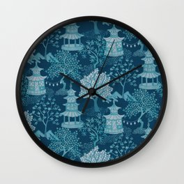 Pagoda Forest Teal and Aqua Wall Clock