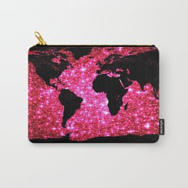 WOrld map Pink Galaxy Stars Sparkle Carry-All Pouch