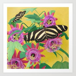 Butterflies and Passion Flowers Art Print