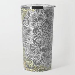 Yellow & White Mandalas on Grey Travel Mug