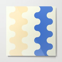 peach and azure waves Metal Print