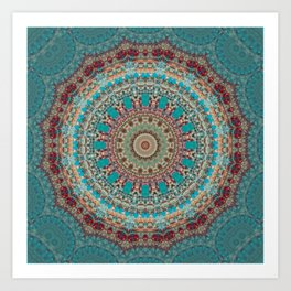 Vintage Turquoise Mandala Design Art Print