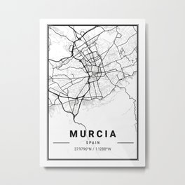Murcia Light City Map Metal Print