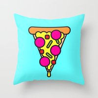 boyfriend Throw Pillows featuring pizza is my boyfriend by molly ennis