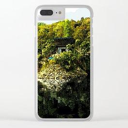 Pokhara Lake Boat House - Digital Illustration Clear iPhone Case