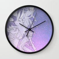 guardians Wall Clocks featuring The Guardians by Red Red Telephone