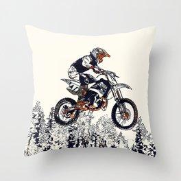 """""""High Flyer"""" Motocross Racer Throw Pillow"""