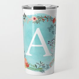 Personalized Monogram Initial Letter A Blue Watercolor Flower Wreath Artwork Travel Mug