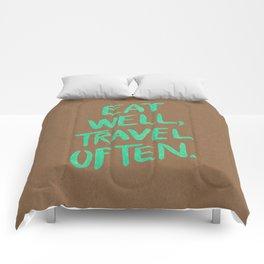 Eat Well, Travel Often on Mint Comforters